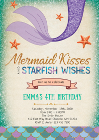 Mermaid kisses starfish wishes invitation