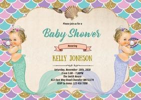 Mermaid twins baby shower invitation