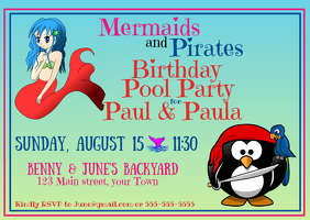 Mermaids and Pirates Postal template