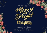 Merry and Bright Gold Glitter Christmas Postc Carte postale template