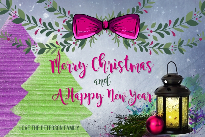 Merry Christmas & A Happy New Year Card Label template