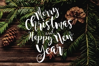 Merry Christmas and Happy New Year Flyer Template Etiket