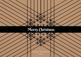 Merry Christmas and new year Postcard template