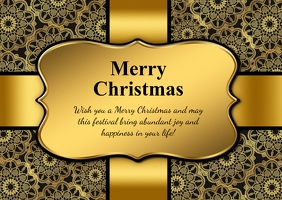 Merry Christmas Card Wishes Golden Message