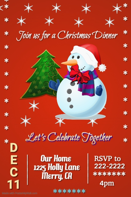 merry christmas dinner template postermywall
