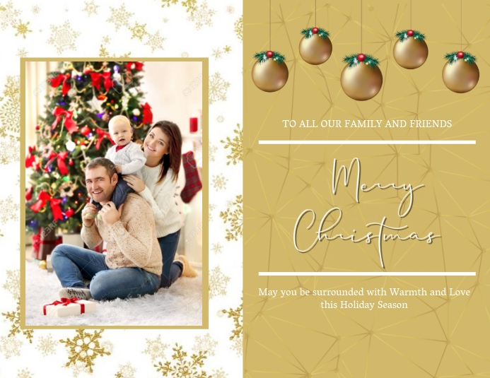 Merry Christmas Family Card Template Flyer (US Letter)