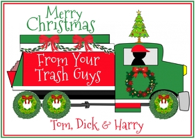 Merry Christmas from Your Trash Guys Poskaart template