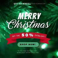 merry christmas green video template สี่เหลี่ยมจัตุรัส (1:1)