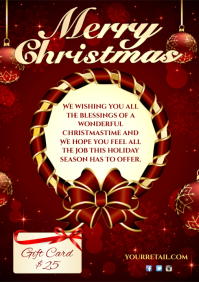 Merry Christmas Greeting Card A4 template