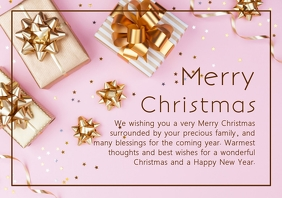 Merry Christmas Greeting Card Din Landscape A4 template