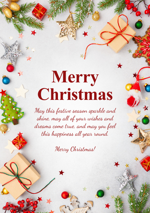 Merry Christmas Greeting Card Din Tree Gifts A4 template