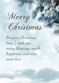 Merry Christmas Greeting Card Din White Tree