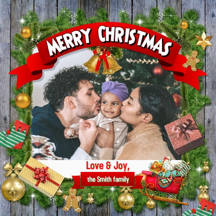 Merry Christmas Greeting Card Instagram template
