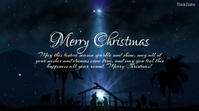 Merry Christmas Greeting Card stars WIshes Digital Display (16:9) template