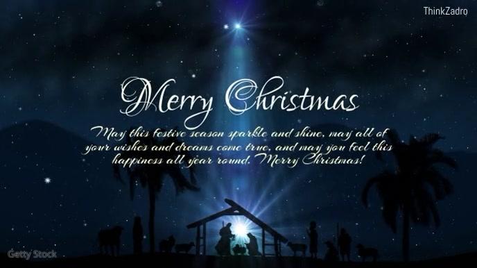 Merry Christmas Greeting Card stars WIshes Pantalla Digital (16:9) template