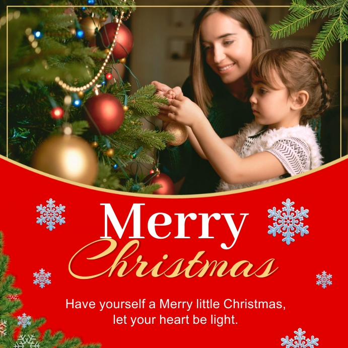 Merry Christmas Greeting Instagram Post Kwadrat (1:1) template