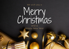 Merry Christmas Greeting Postcard Gold Gift Открытка template