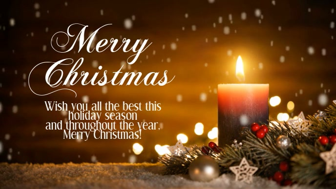 Merry Christmas Greeting Video Candle Light