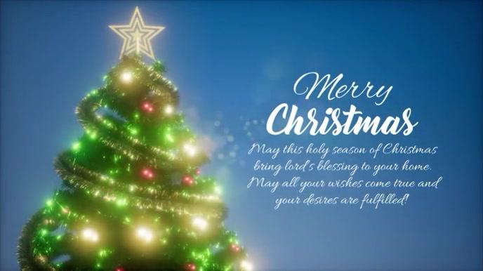 Merry Christmas Greetings Wishes Glitter Tree Pantalla Digital (16:9) template