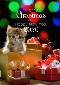 Merry Christmas Kitten Cat Santa Hat Card