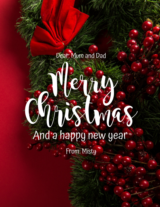 Merry Christmas Mum and Dad Flyer (Letter pang-US) template