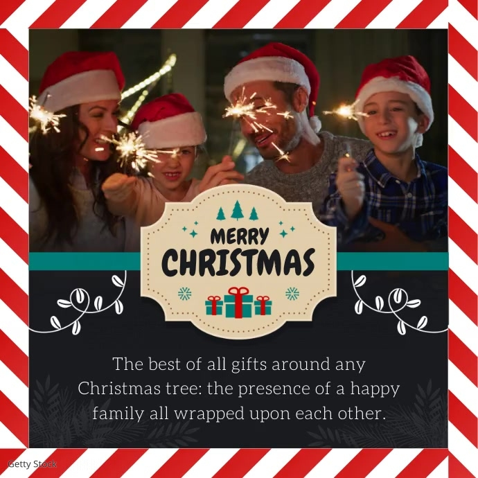 Merry Christmas Personalised Wish Square Vide template