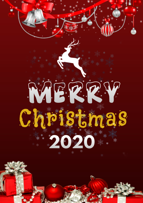 merry christmas red A5 template