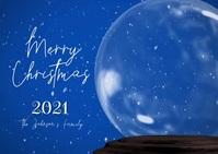 Merry Christmas Snowglobe Family Photo Video Postal template