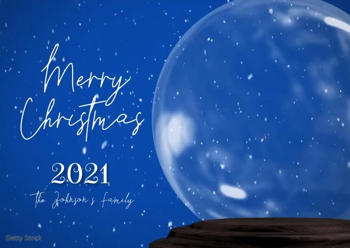 Merry Christmas Snowglobe Family Photo Video Postcard template