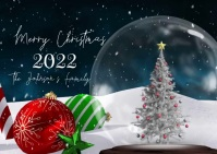 Merry Christmas Snowglobe Family Pic Video Postcard template