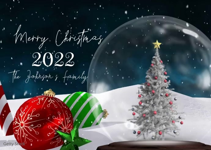 Merry Christmas Snowglobe Family Pic Video Postal template