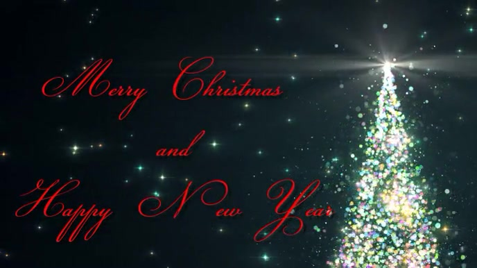 Merry Christmas Sparkling Tree Pantalla Digital (16:9) template