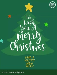 Merry Christmas tree animation Flyer (Letter pang-US) template