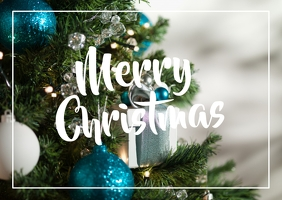 Merry Christmas Tree Greetings Wish Card Din Poskaart template