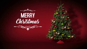 Merry Christmas Video Greeting Card Tree ad Film w tle na Facebooka (16:9) template