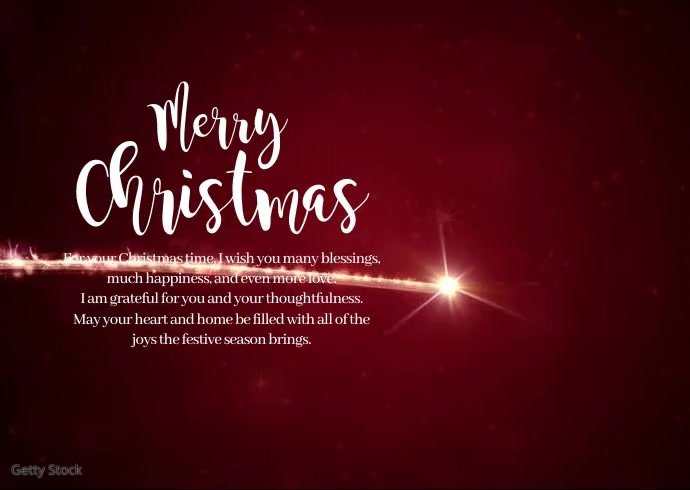 Merry Christmas Wish New Year Greeting Video Postcard template
