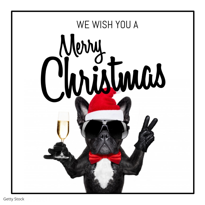 merry christmas wishes greeting card Dog Pos Instagram template