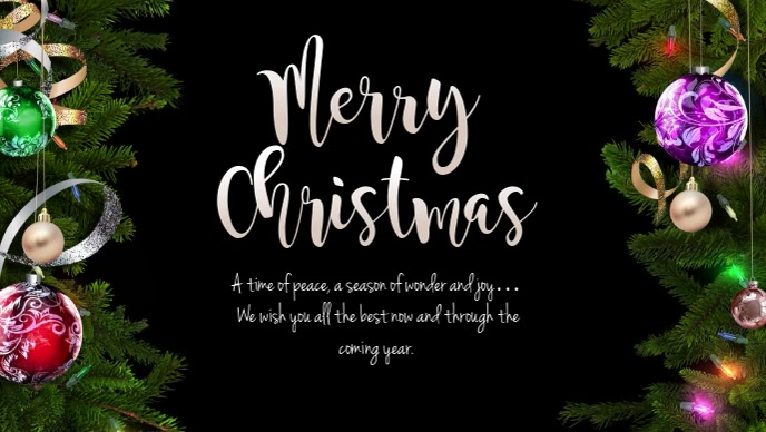 merry christmas wishes greeting card message Video copertina Facebook (16:9) template
