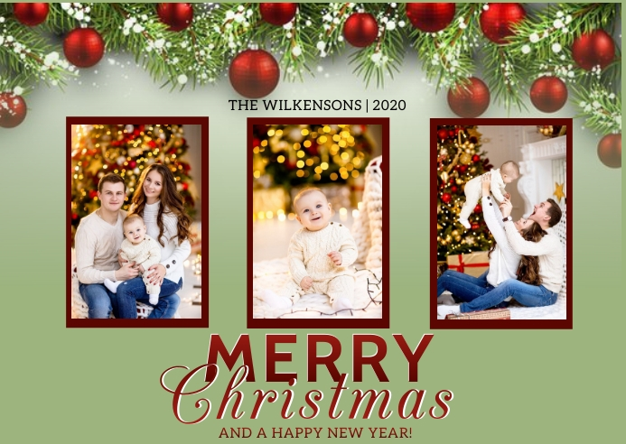 MERRY CHRISTMAS WISHES Template Postcard