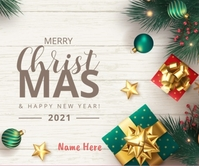 Merry Christmas wishes wallpaper Stort rektangel template