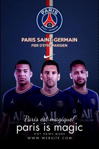 Messi PSG Club Poster Template Plakkaat