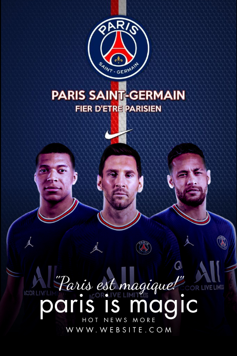 Messi PSG Club Poster Template