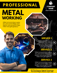 metal working advertisement design template y Volante (Carta US)