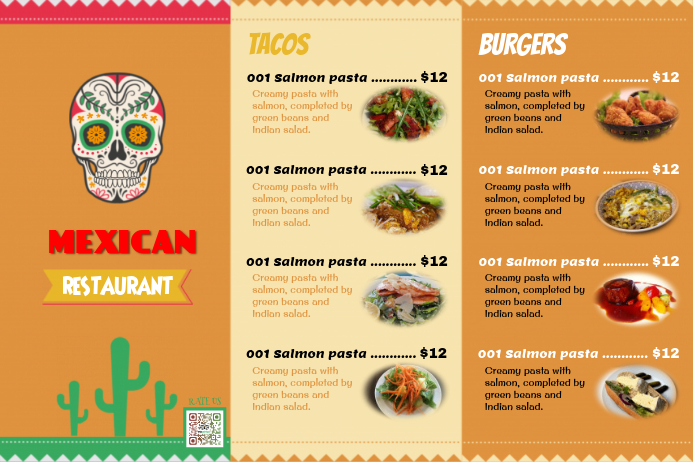 Mexican Food Menu Templates With photo placeholders – Food Menu Template