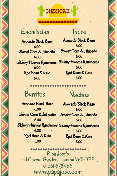 mexican food restaurant food menu template postermywall
