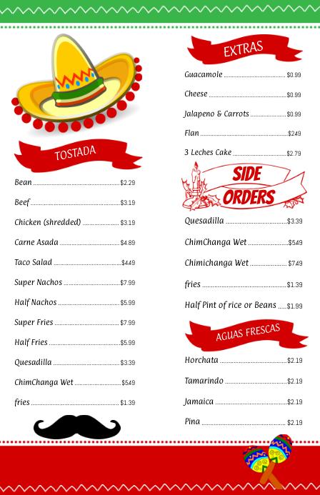 Mexican Menu Template Half page
