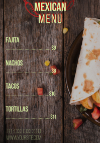 Mexican menu table a4 2