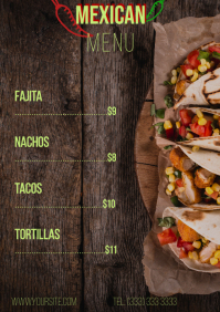 Mexican menu table a4