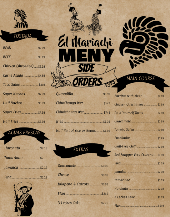 Mexican Menu Wall Board