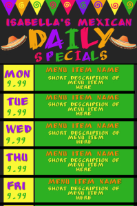 Mexican Restaurant Daily Specials Menu